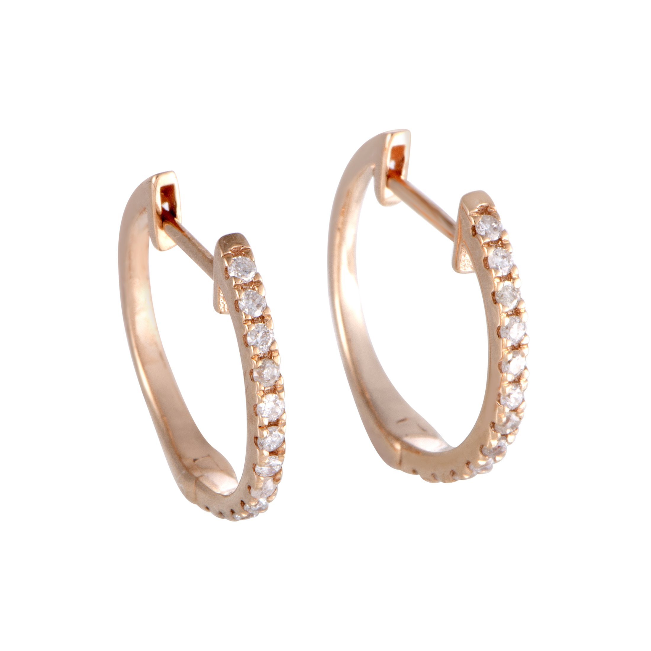 Sparkling 0.5'' Diamond Hoop Earrings in 10K Rose Gold; 0.20 Carats of Round, White Diamonds (rose-gold)