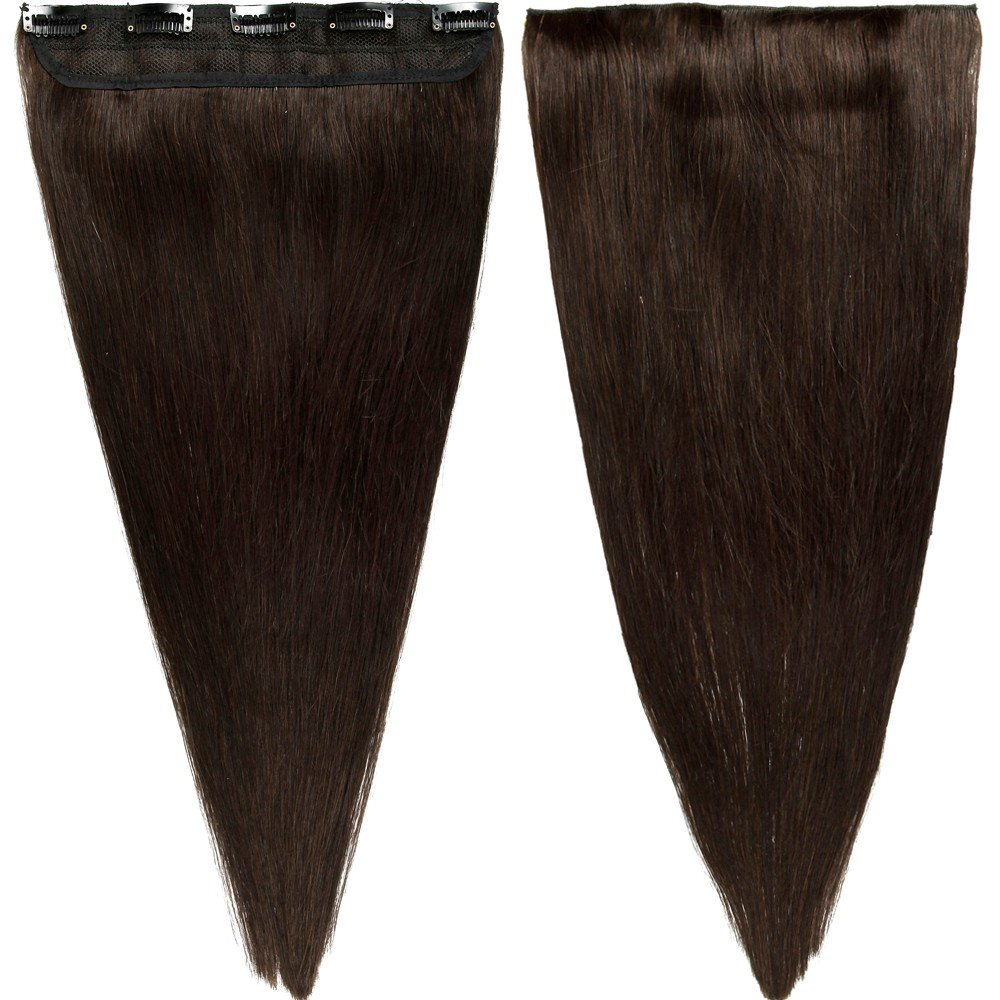 """s-noilite 16"""" 45g 3/4 Full Head 1 Piece 5 Clips Clip in Remy Human Hair Extensions Silky Straight #2 Dark Brown"""