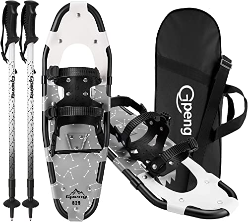 Gpeng Lightweight Snowshoes for Men Women Youth Kids, Aluminium Alloy Terrain Snow Shoes with Carrying Tote Bag, 14 21 25 27 30