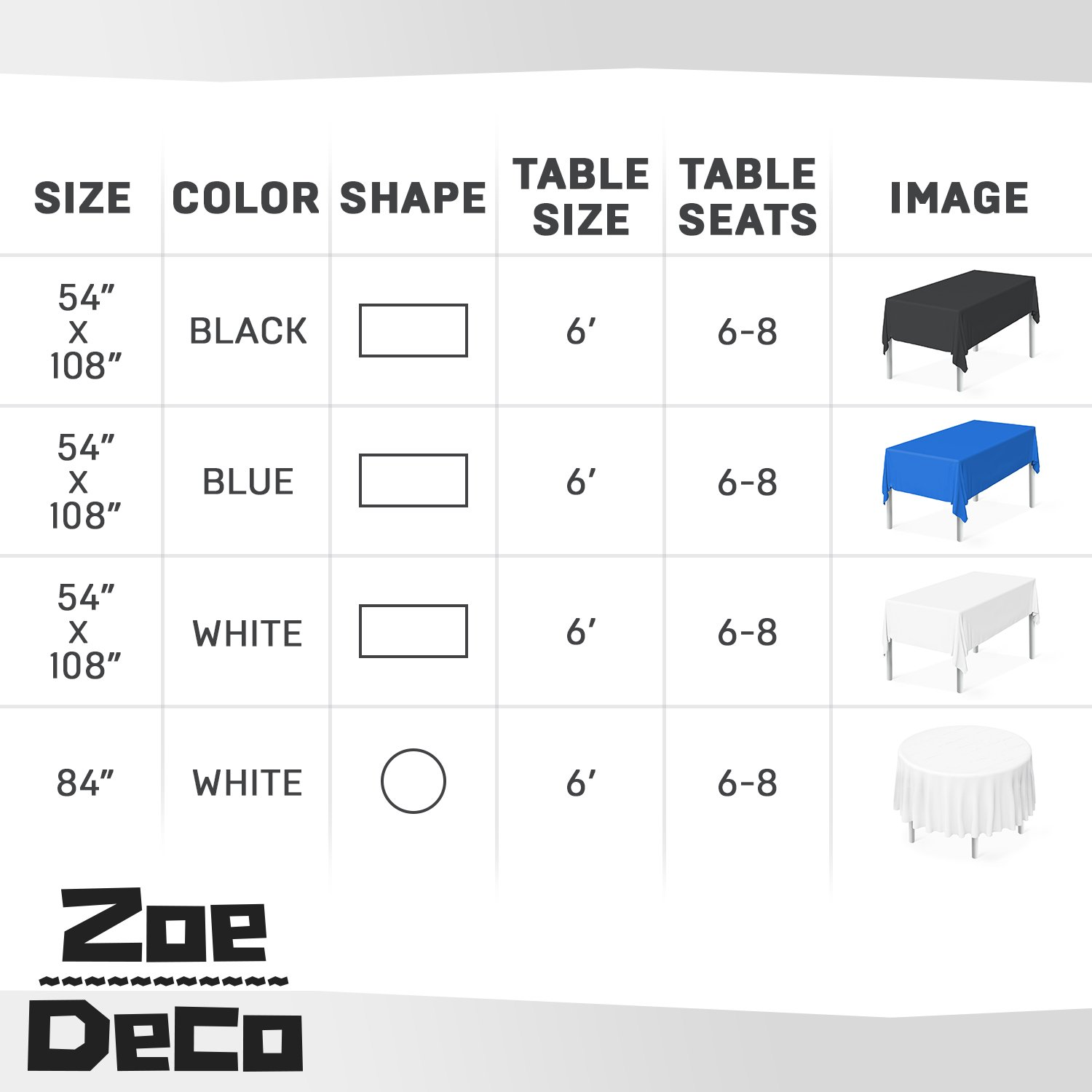 Zoe Deco Plastic Tablecloth, 54'' x 108'' Blue Tablecloth - 12 Pack - Rectangle Tablecloth for Parties, Graduations, and Picnics by Zoe Deco (Image #5)