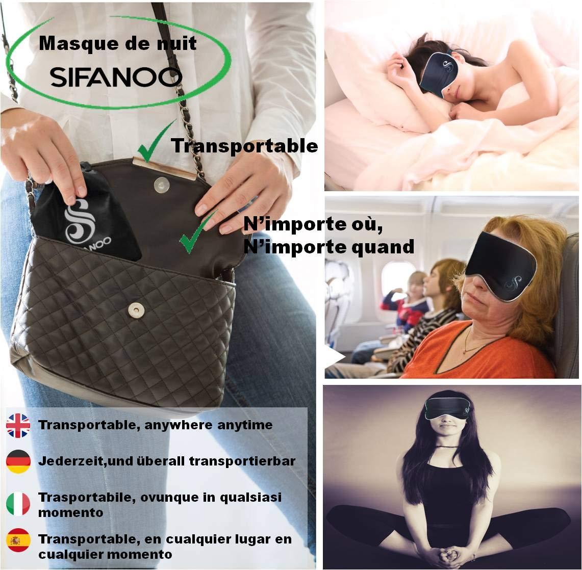 SIFANOO Antifaz para dormir, máscara para dormir en seda negra y plateada bordada, máscara ajustable, antifaz de viaje: Amazon.es: Salud y cuidado personal