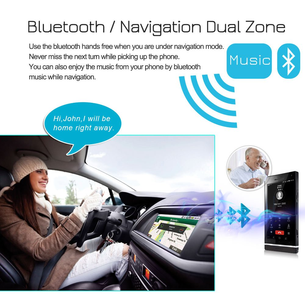 Lexxson Android 8.0 Car Radio Stereo 2Din 7 inch Capacitive Touch Screen GPS Navigation Compatible OBD TPMS Wireless USB SD Mirro Link Player 1G DDR3 16G NAND Memory Flash CT0009L