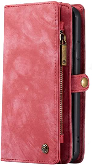iPhone 11 Pro Max Wallet Case - Detachable Leather Phone Wallet Magnetic Flip Case Shockproof Cell Phone Case with Credit Card Slots (Red)