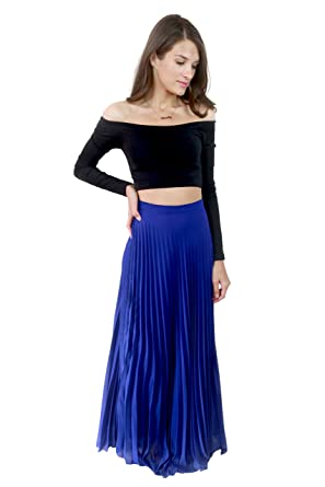 1f4d1a662 Studio 15 Womens Cobalt Blue Pleated Maxi Skirt at Amazon Women's Clothing  store: