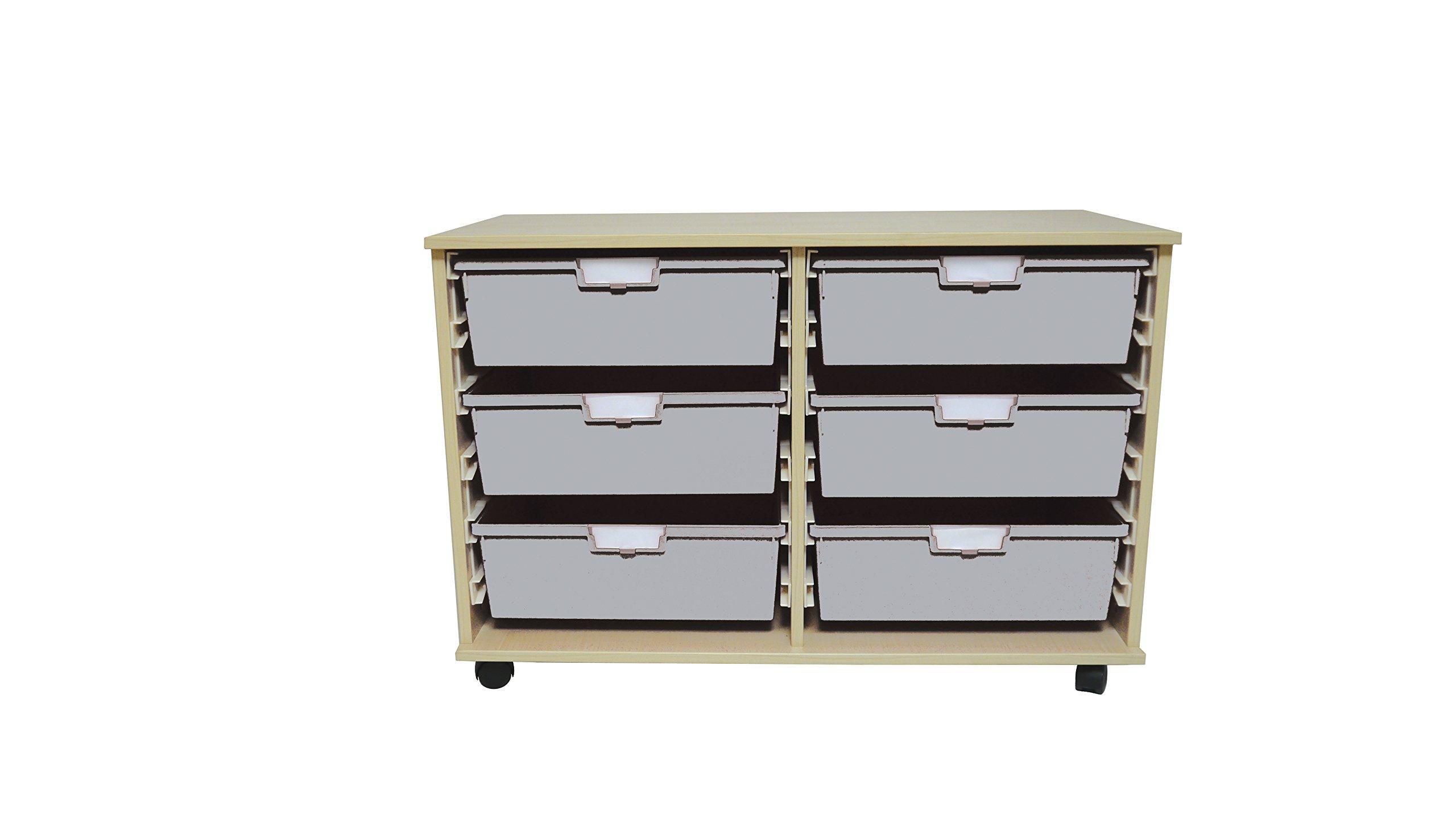 Swift II 'Wide Line' Wood Cart 6 Tray Light Grey