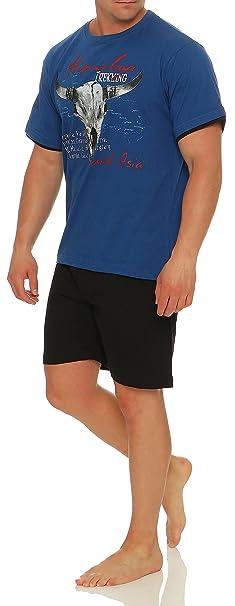Pijama con Pantalones Cortos para Hombre, con Cuello Redondo o en Forma de V,