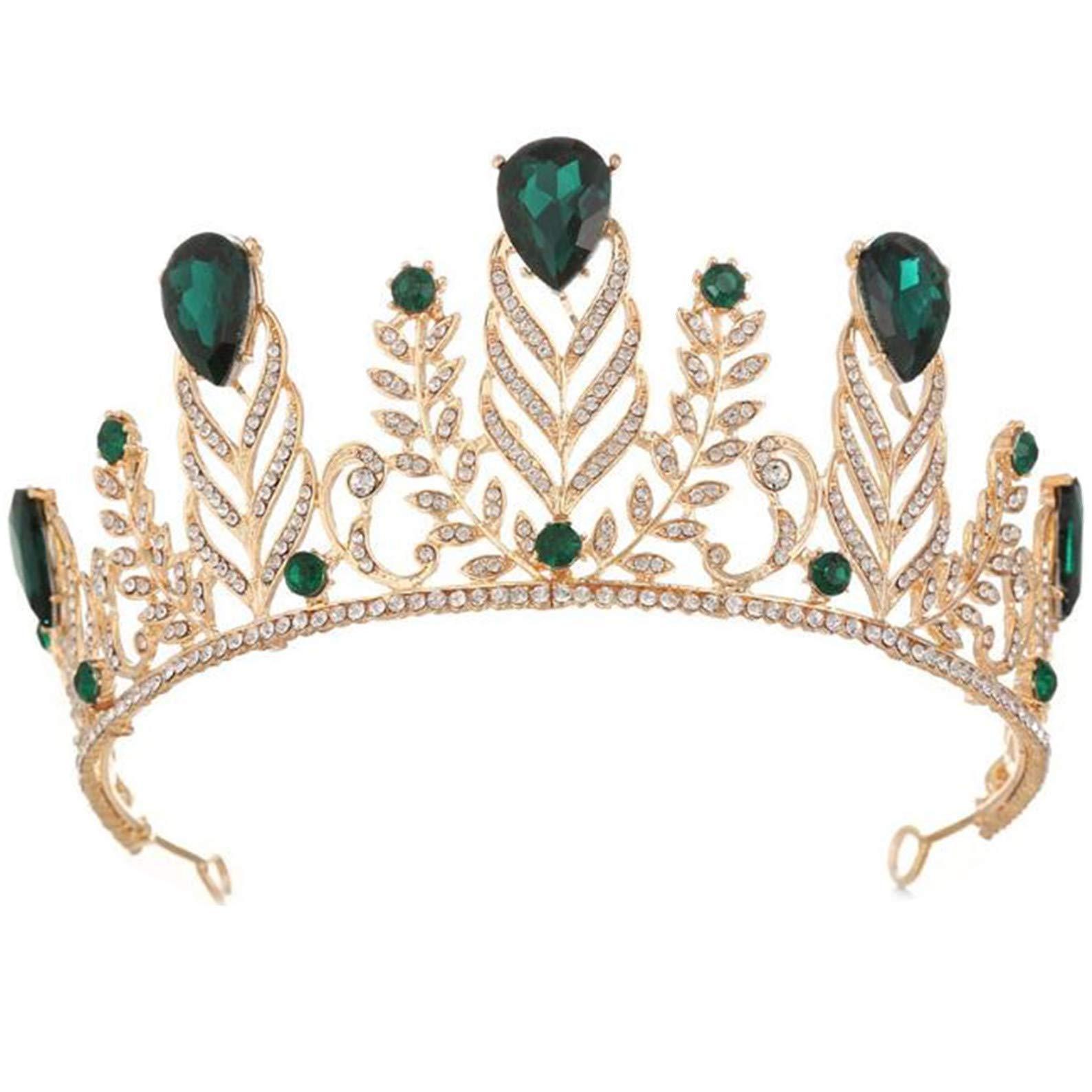 Wiipu Vintage Rhinestone Feather Crown Wedding Crystal Leaf Bride Tiara Headband(A1346) (Green)