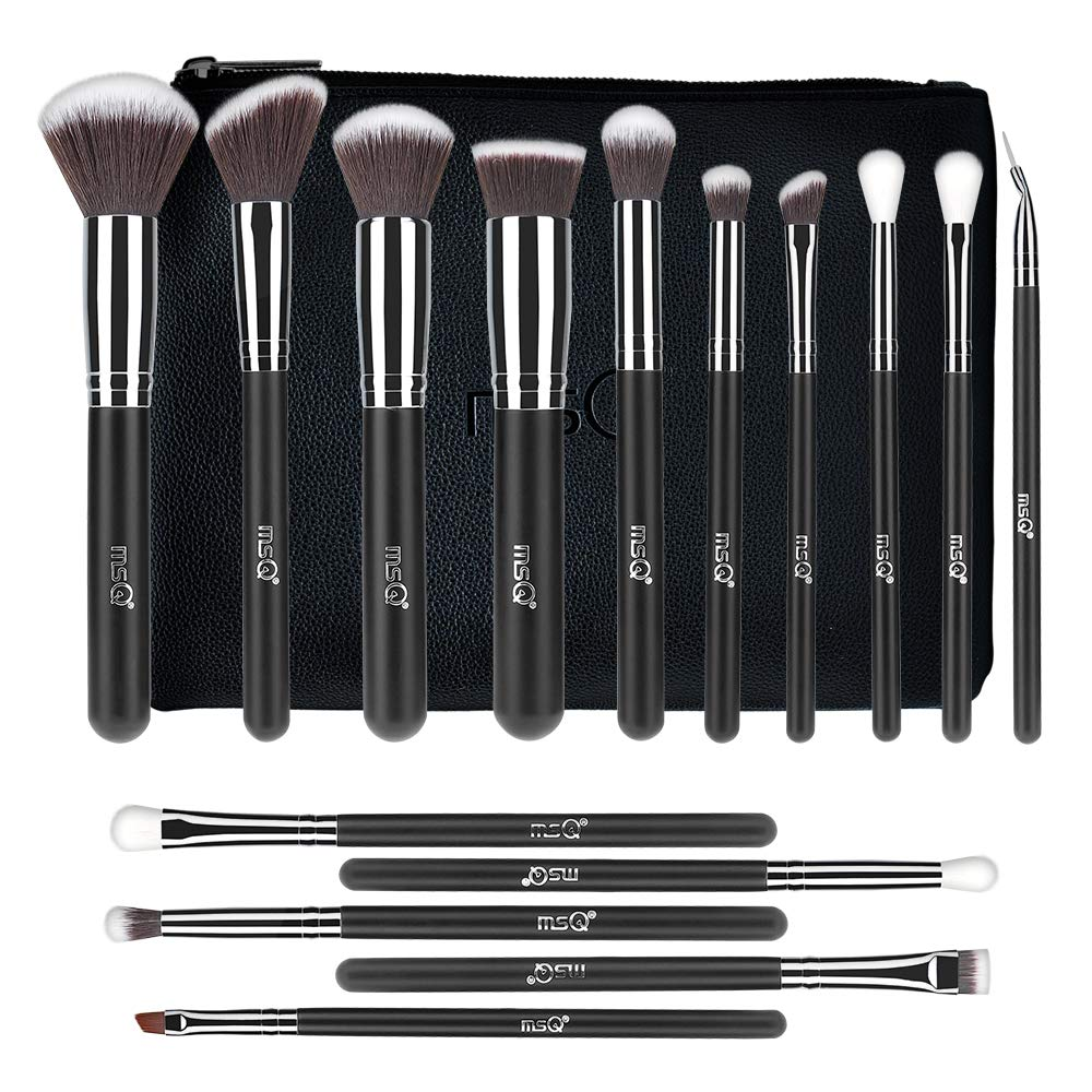 9088ee161a0d MSQ Makeup Brush Set 15pcs Professional Cosmetic Brushes with Makeup bag  for Foundation, Powder, BB Cream, Eyeliner, Concealer Best for Gifts &  Travel ...