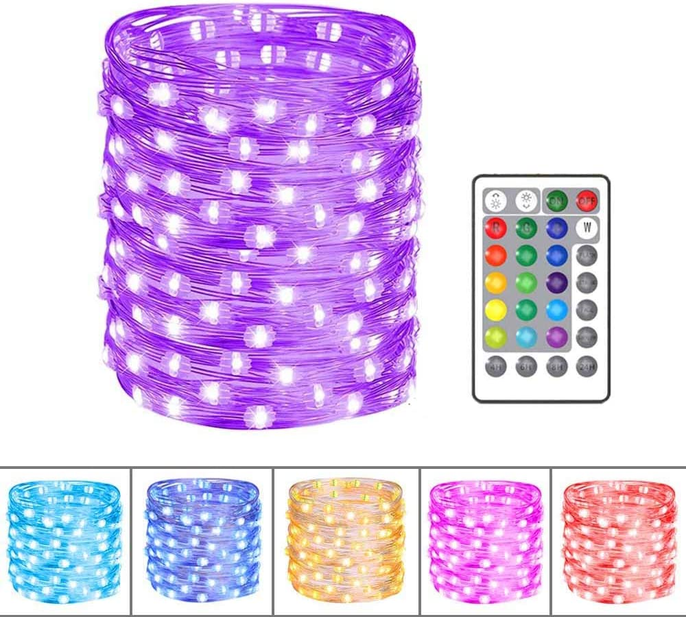 Christmas Lights, 33feet 100LEDs Color Changing Fairy Lights with Remote for Bedroom, Decorative Lights for Boho Decor Aesthetic Room Decor