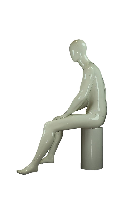 PENG TRIDECOR Maniqui de Hombre Sentado Lacado en Color Blanco