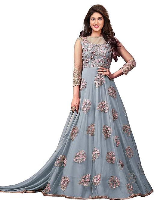 Royal Export Women s Net A-line Long Party Wear Salwar Suit (grey ... 1e50ec338