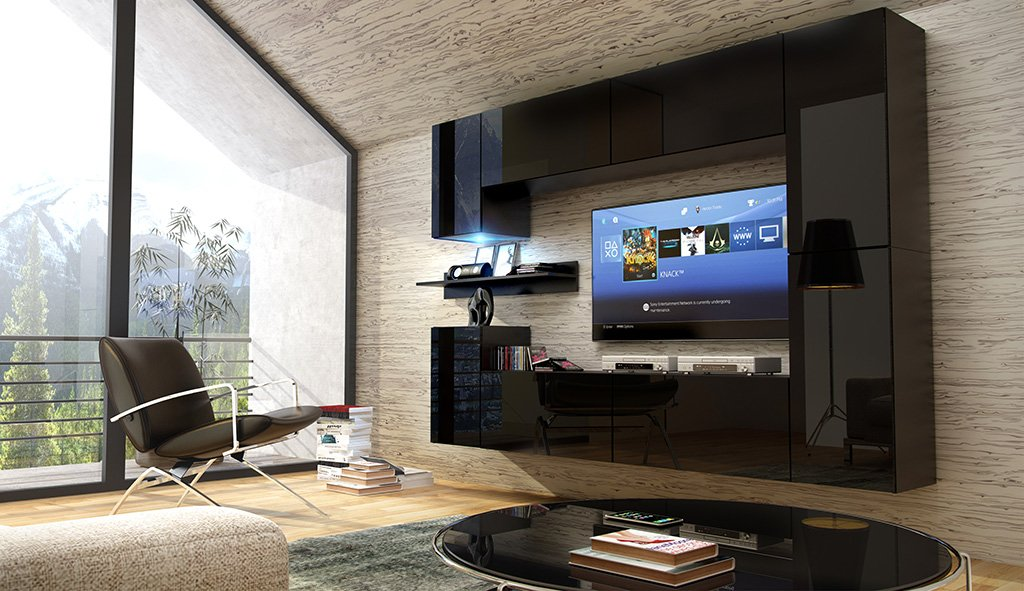 FUTURE 13 Moderne Wohnwand, Exklusive Mediamöbel, TV Schrank, Neue  Garnitur, Große Farbauswahl (RGB LED Beleuchtung Verfügbar) (Schwarz MAT  Base / Schwarz ...