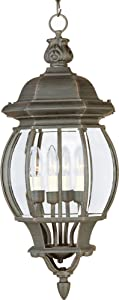Maxim 1039RP Crown Hill 4-Light Outdoor Hanging Lantern, Rust Patina Finish, Clear Glass, CA Incandescent Incandescent Bulb , 4.5W Max., Damp Safety Rating, 3000K Color Temp, Standard Triac/Lutron or Leviton Dimmable, Glass Shade Material, 315 Rated Lumens