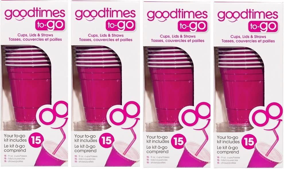 Goodtimes 9oz Kids Cups To-Go Kits With Lids And Straws (60, Pink)