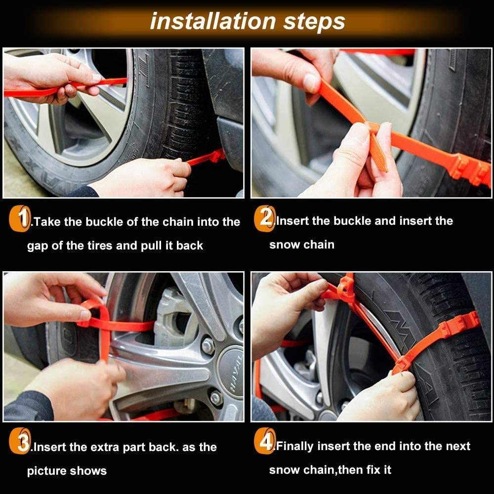 Longsheng 10PCS Car Tire Snow Chains,Universal Snow Tyre Chains Anti-skid Emergency Plastic Wheel Chain for Car Truck SUV 10PC-20mm*935mm
