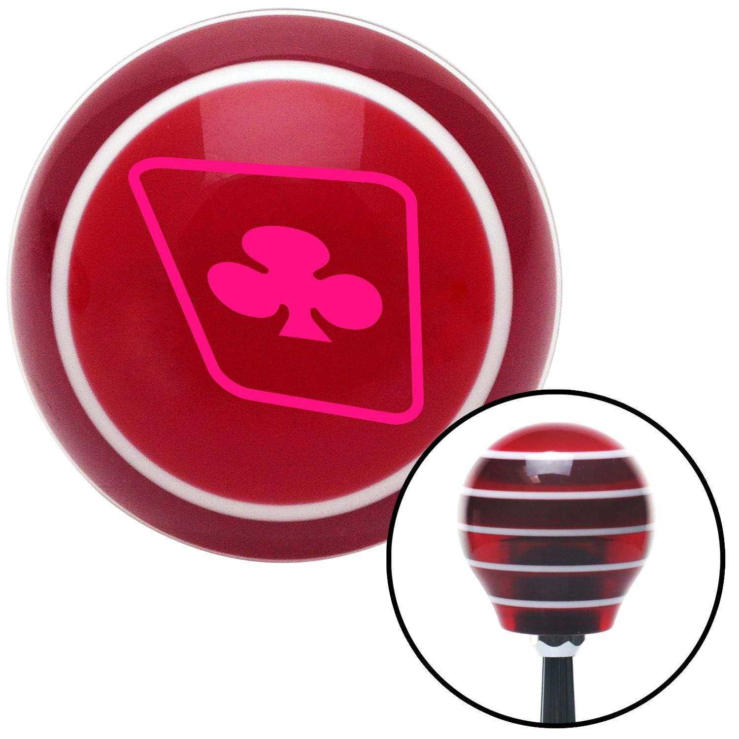 Pink Clubs on a Card American Shifter 112661 Red Stripe Shift Knob with M16 x 1.5 Insert