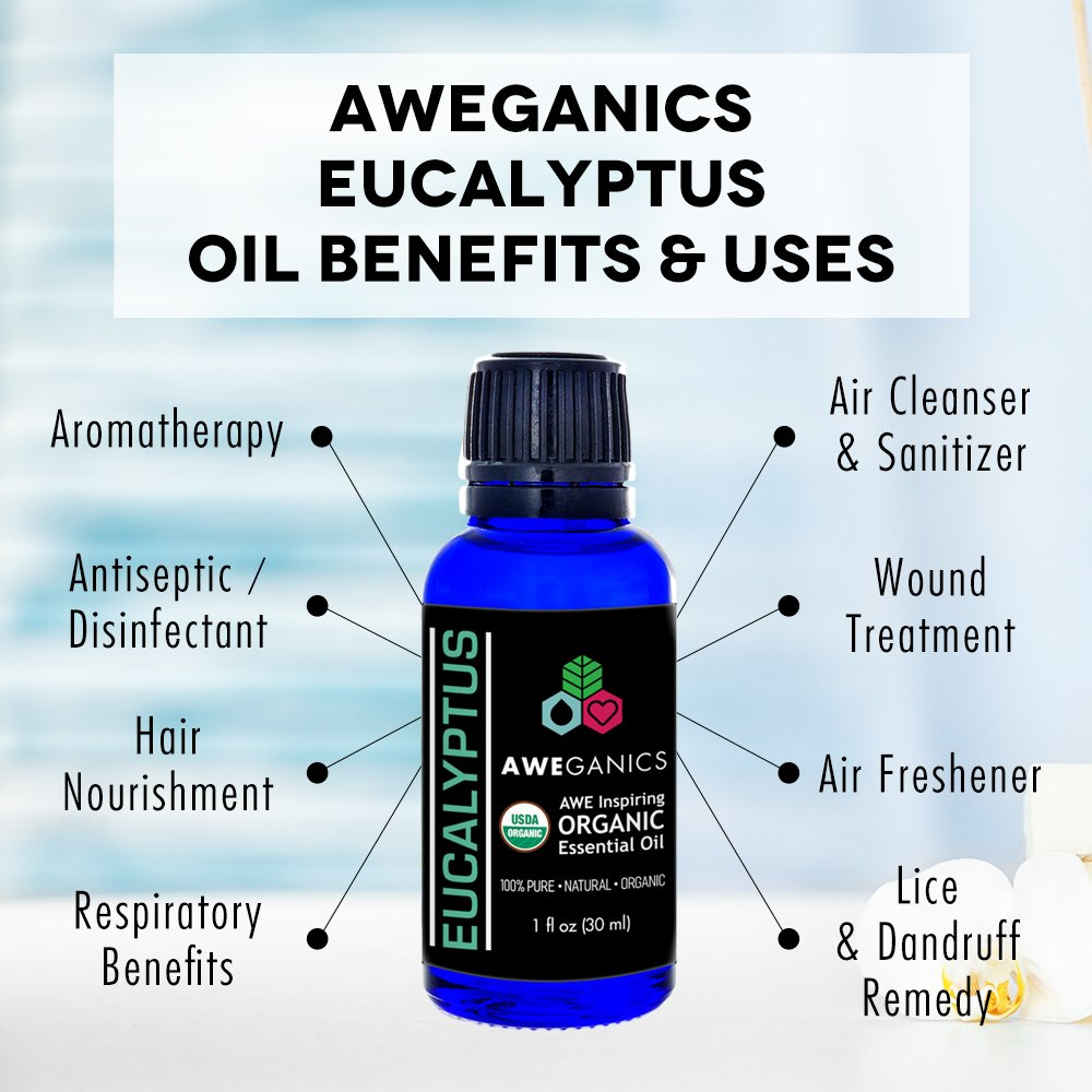 Aweganics Pure Eucalyptus Oil USDA Organic Essential Oils, 100% Pure Natural Premium Therapeutic Grade, Best Aromatherapy Scented-Oils for Diffuser, Home, Office, Personal Use - 1 OZ - MSRP $19.99 by AWEGANICS (Image #3)