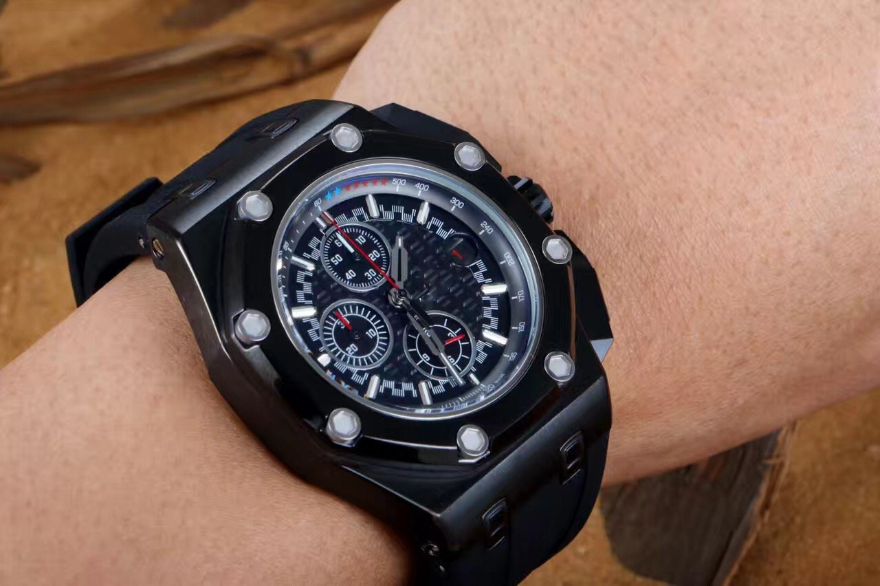 My_TimeZone Luxury brand Top high best quality Japanese quartz chronograph Black watch watches by A_P