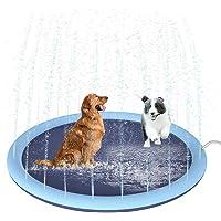 Petyoung 59 Inch Splash Sprinkler Pad Voor Honden Kinderen Verdikt Duurzaam Hondenbad Zwembad Bad Huisdier Zomer Buiten…