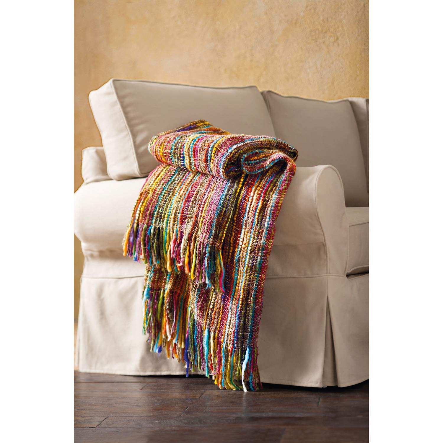 """ART & ARTIFACT Fringe Throw Blanket - Chunky Knit Decorative Warm Acrylic Afghan - 48"""" x 70"""" - Bright Striped Colors"""