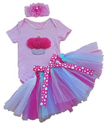 c1f68e4eb236 Amazon.com  AISHIONY Baby Girls  1st Birthday Tutu Onesie Outfit ...