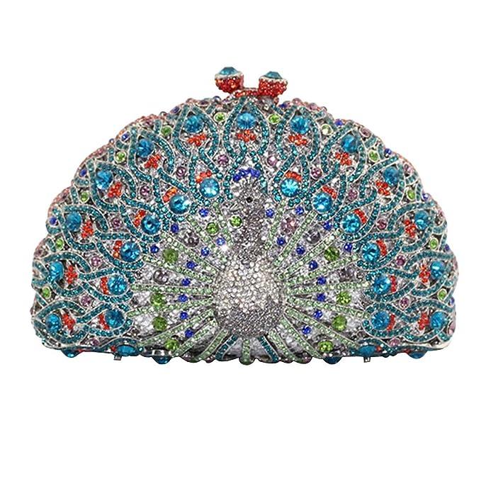 Embrague De Las Mujeres De Lujo Del Pavo Real Cristalino De La Tarde Bolsos De Embrague,Blue-OneSize: Amazon.es: Ropa y accesorios