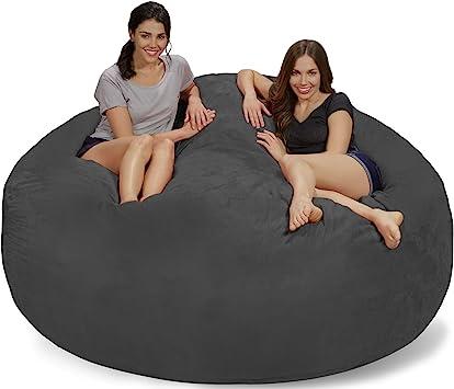 Amazon Com Chill Sack Bean Bag Chair Giant 7 Memory Foam Furniture Bean Bag Big Sofa With Soft Micro Fiber Cover Charcoal Micro Suede Furniture Decor