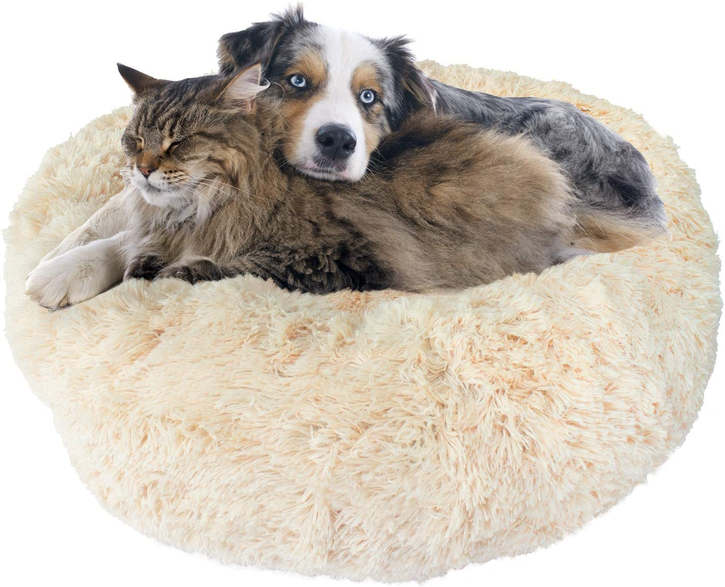 Premium Donut Dog Bed, Cozy Poof Style Giant Pet Bed Great for Cats Dogs – Orthopedic, Washable, Durable Dog Bed Oatmeal Navy Blue