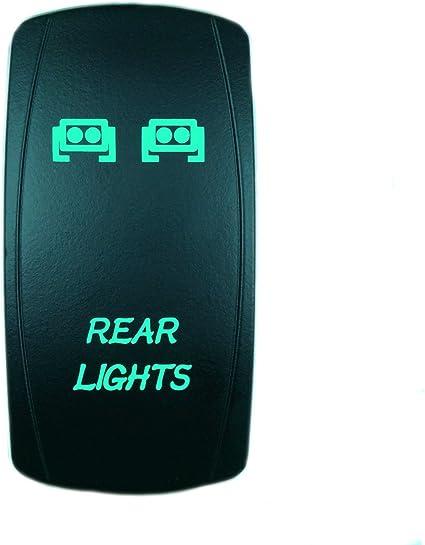 Laser Backlit Green Rocker Switch The Rocker 20A 12V On//Off LED Light