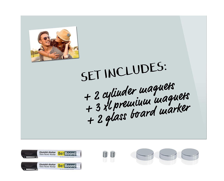 5 aimants Be!Board SY487 Tableau magn/étique en verre blanc 60 x 40 cm 2 marqueurs noirs
