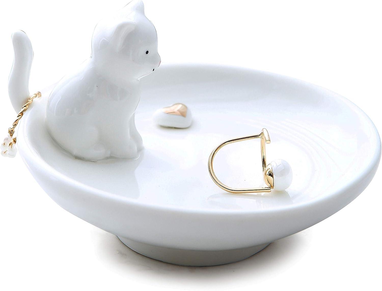 Vellarr Adorable Cat Ring Holder Jewelry Tower Ceramic Dish Plate Jewel Display Organizer Trinket Tray, Lovely Cat