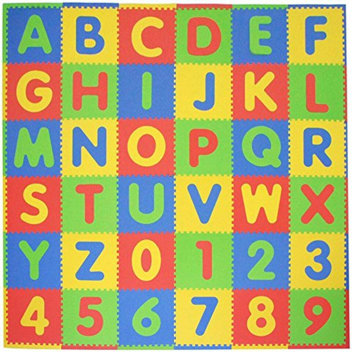 Tadpoles Soft EVA Foam 36 Piece ABC Playmat Set, Multi/Primary, 74x 74 (36 Sq Feet) : Early Development Playmats : Baby