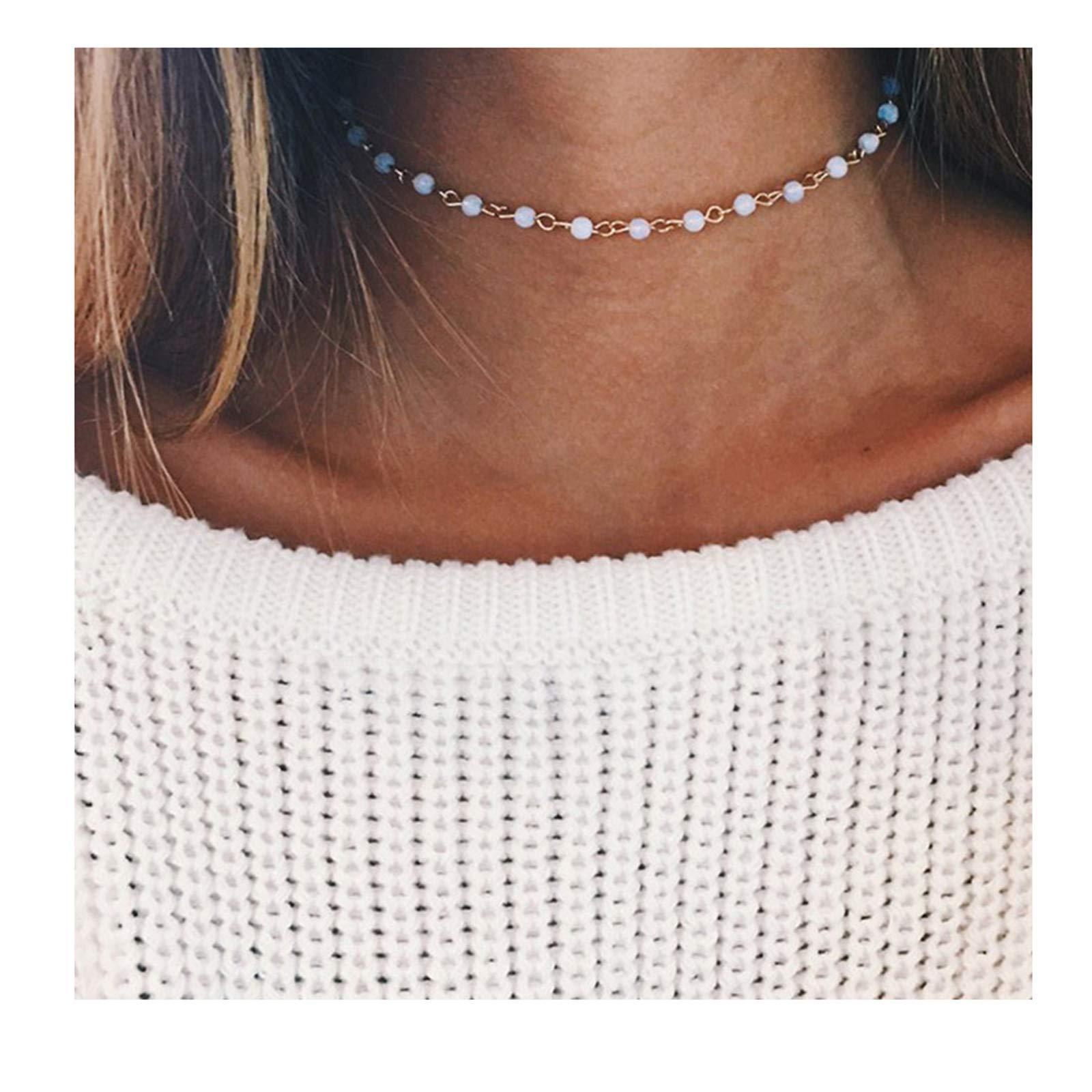 Fettero Dainty Gold Chocker Handmade Beaded 14K Gold Fill White Opal Lucky Necklace