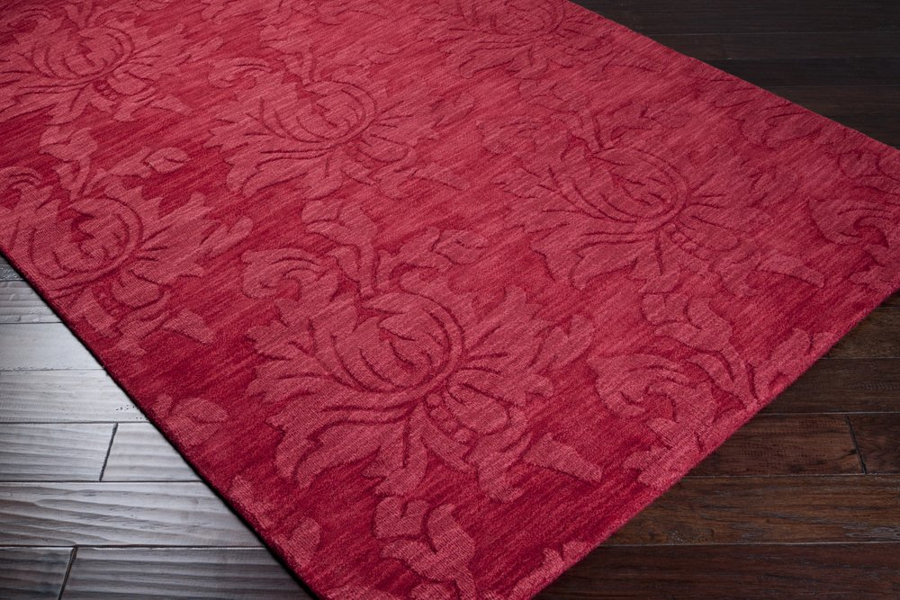 Surya Mystique M-237 Transitional Hand Loomed 100% Wool Maroon 2'6'' x 8' Runner
