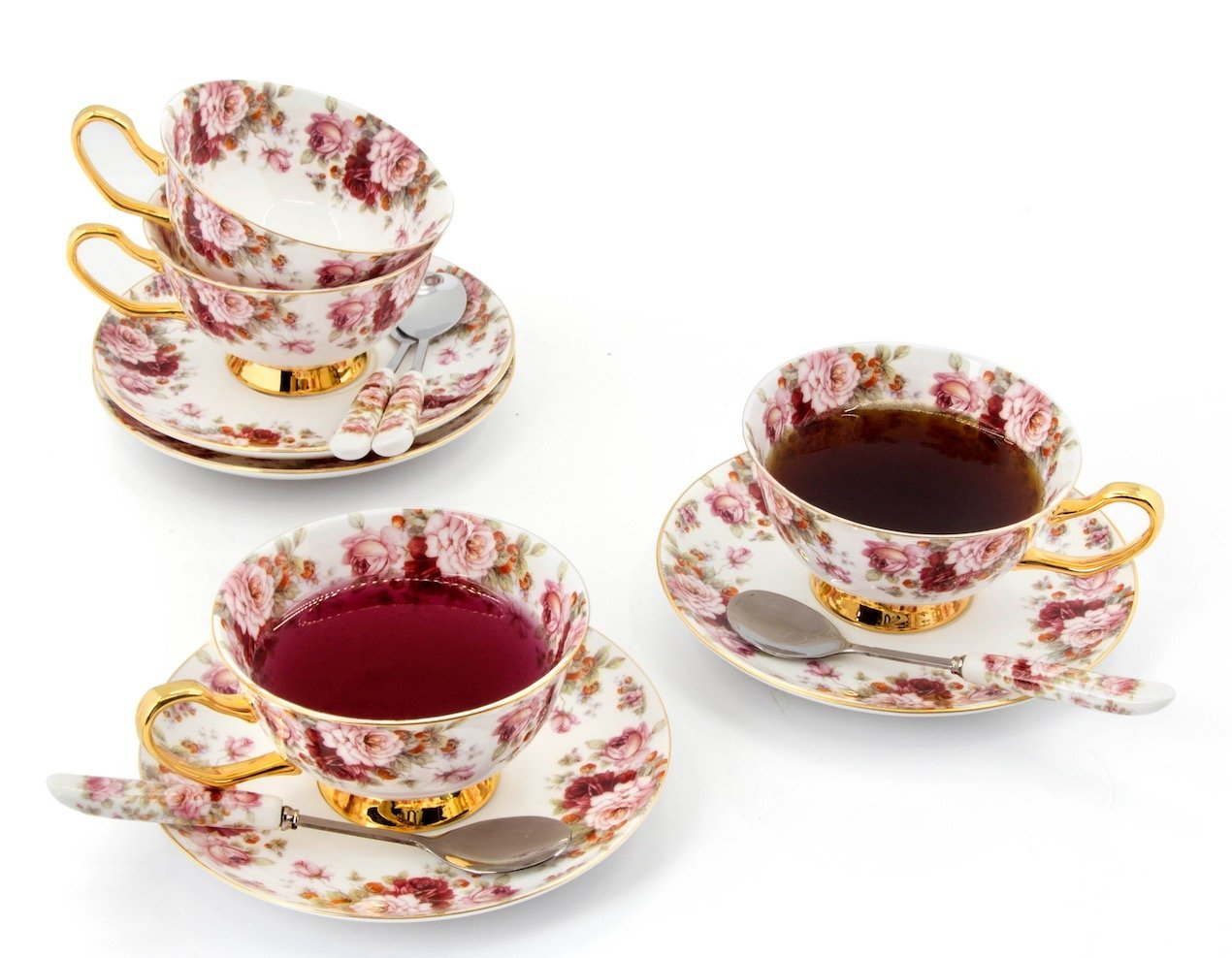 Porcelain Tea Cup and Saucer Coffee Cup Set with Saucer and Spoon 8 oz Set of 4 (Rose & Strawberry)