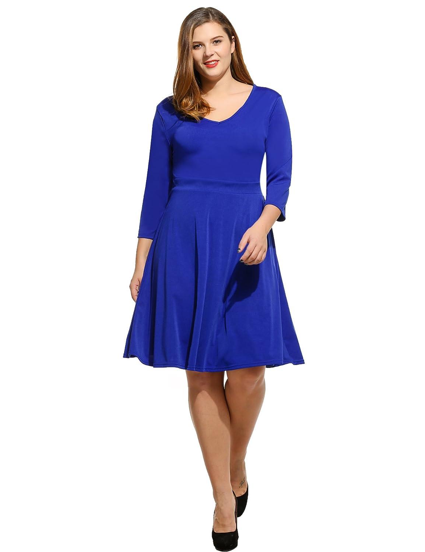 Zearo Damen Winter Pullover Kleid elegant knielang basic Sweatshirt ...