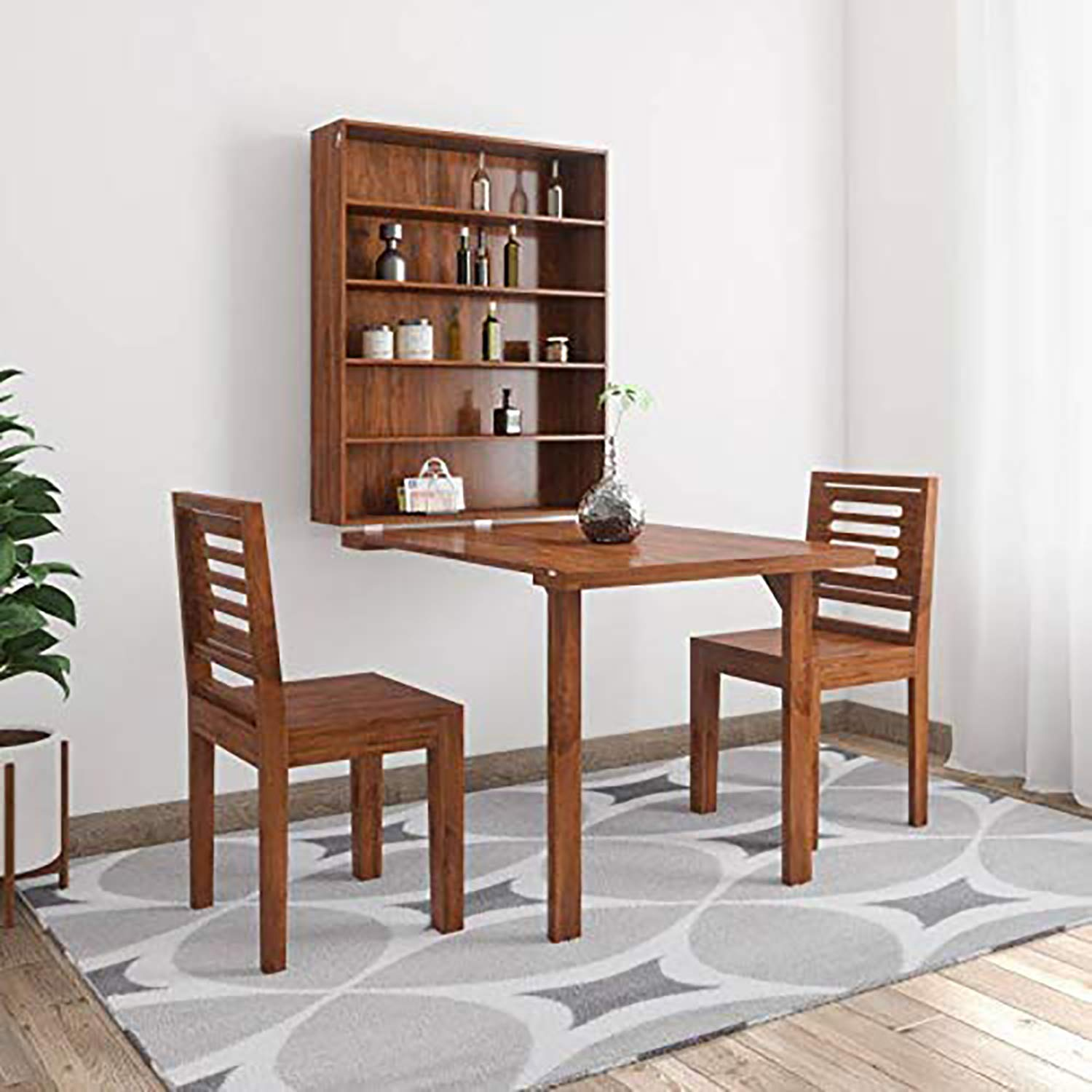 Corazzin Furniture Sheesham Wood Folding Dining Table For Living Room With 2 Chairs Provincial Teak Finish Wall Mounted Amazon In Home Kitchen