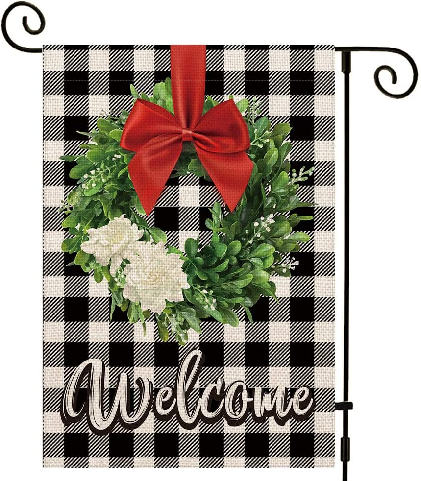 UPINLOOK Boxwood Wreath Welcome Christmas Garden Flag Vertical Double Sided, Winter Valentine's Day Buffalo Check Plaid Rustic Farmhouse Yard Flag Outdoor Decoration 12.5 x 18 Inch