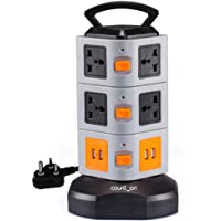 Count On Power Strip Extension Board/Box with 10 Multiplug Sockets and 4 USB ports, 3 mtrs long heavy cable for Home and Computer Desk