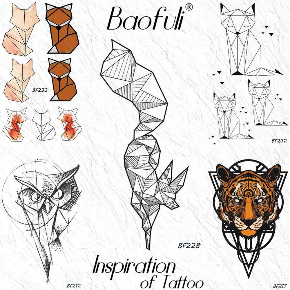 Tatuajes Temporales Adultos Geométrico Fox Diamond Etiqueta ...