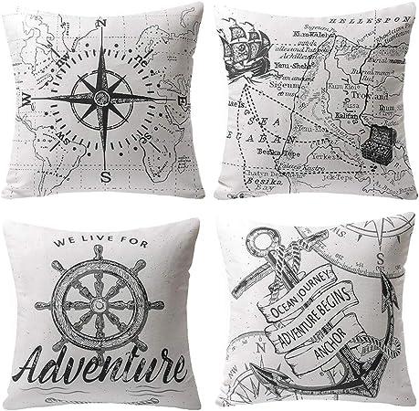 Gspirit 4 Pack Oceano Serie Brújula Mapa Ancla Navegación Algodón Lino Throw Pillow Case Funda de Almohada para Cojín 45x45 cm: Amazon.es: Hogar