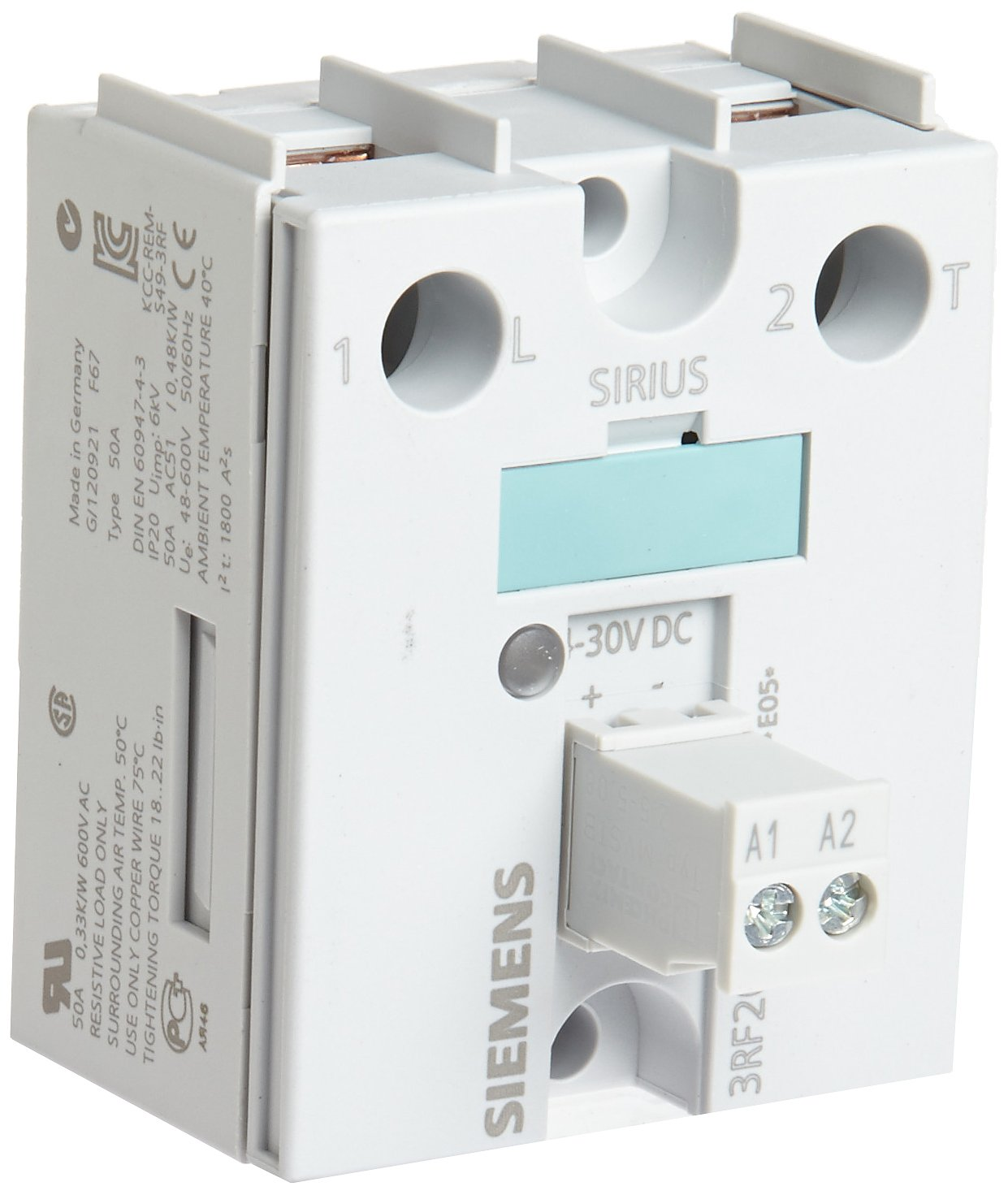 Screw Connection Siemens 3RF20 20-1AA04 Semiconductor Relay Zero-Point Switching 48-460V Rated Operational Voltage 45mm Single Phase 20 A Type Current