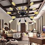BAYCHEER HL371456 Industrial Vintage Metal Larget Sputnik Chandelier Pendant Light lamp Ceiling Lighting Painted Finish…
