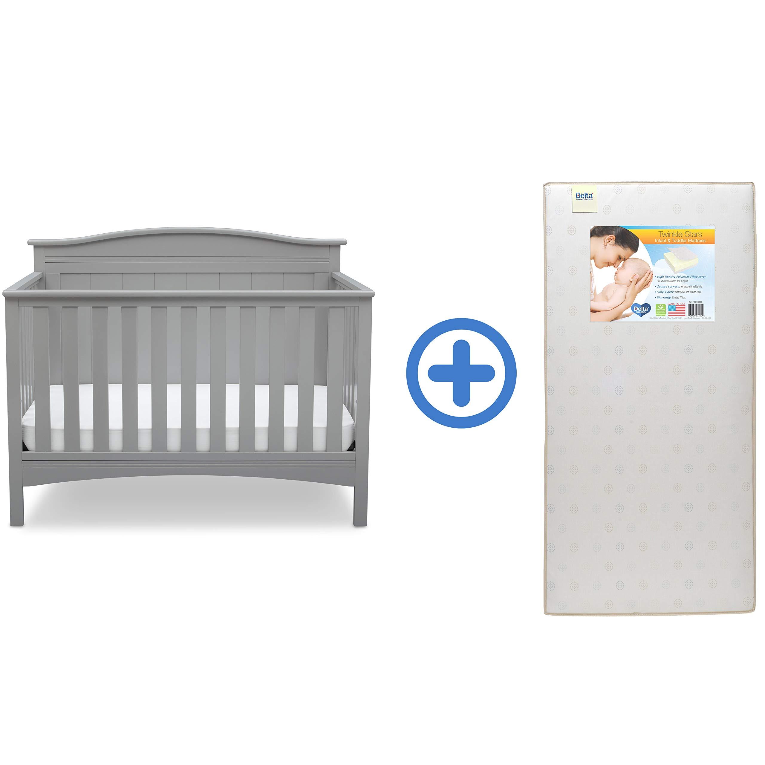Delta Children Bennett 4-in-1 Convertible Baby Crib & Twinkle Stars Waterproof Fiber Core Crib and Toddler Mattress, Grey by Delta Children