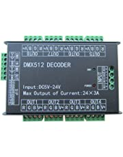 High Power 24 Channel RGB 3A/CH DMX512 Controller Led Decoder Dimmer 500Hz Flicker Free Smoother Dimming DMX Signal Indicator Flashes Function DC 5V-24V