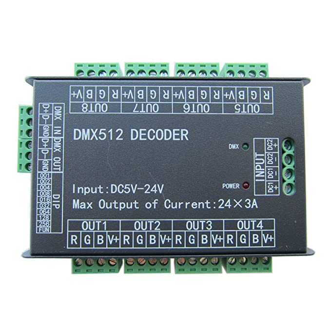 High Power 24 Channel RGB 3A/CH DMX512 Controller Led Decoder Dimmer 500Hz Flicker Free Smoother Dimming DMX Signal Indicator