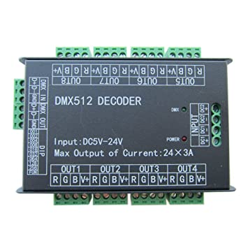 High Power 24 Channel RGB 3A/CH DMX512 Controller Led Decoder Dimmer ...