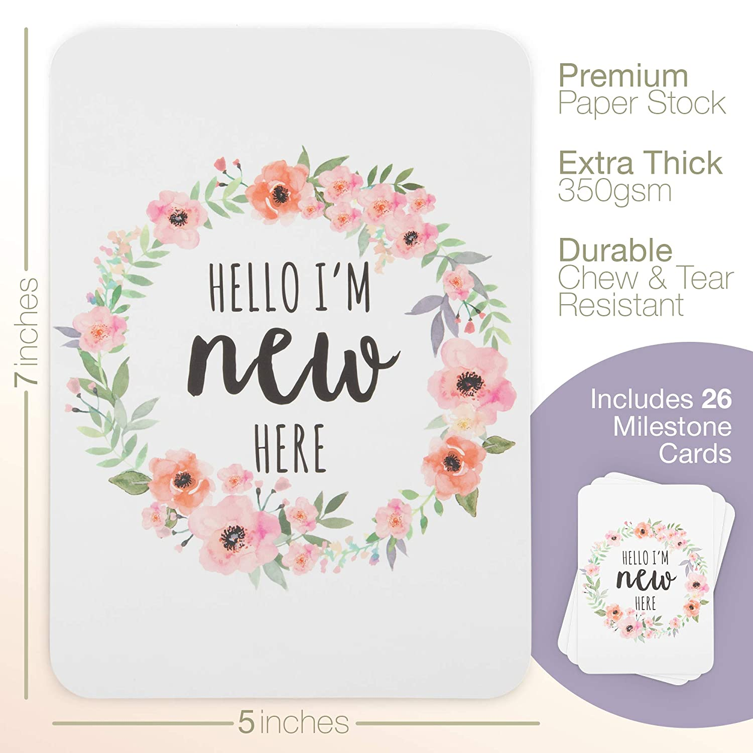 Baby Milestone Cards, Set of 26 – N ewborn First Year Progress Report Cards with Cute Sayings and Floral Wreath Prints – Unique Baby Shower Gift for New Moms, Parents – for Girls