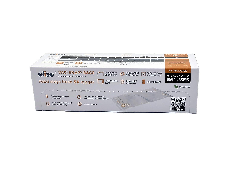 Oliso Pro VAC-SNAP Bags for Oliso Vacuum Sealers, Jumbo, 2 Gallon, 6 Bags