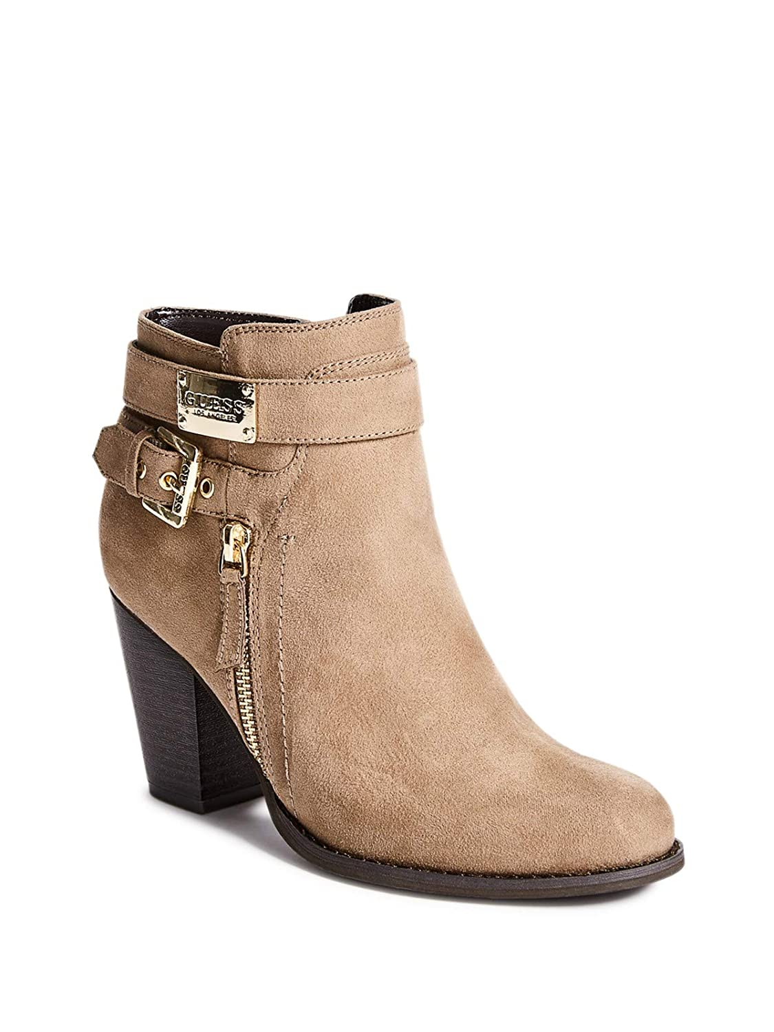 71a305e18b9 GUESS Factory Women's Fury Faux-Suede Buckle Zip-Up Booties